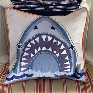 Pottery Barn Kids Embroidered Shark Pillow Cover